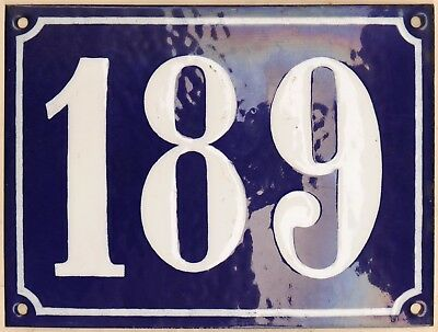 Large old French house number 189 door gate plate plaque enamel steel metal sign