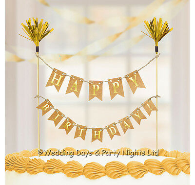 Happy Birthday Cake Picks Topper Gold / Rustic Bunting Banner Party Decorations