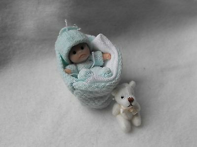 OOAK handmade miniature sulpt  5. 5 cm  clay baby part   jointed doll  by Carol