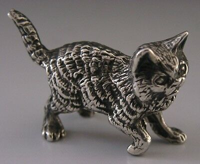 Beautifully Modelled English Solid Sterling Silver Cat / Kitten Figure 1976
