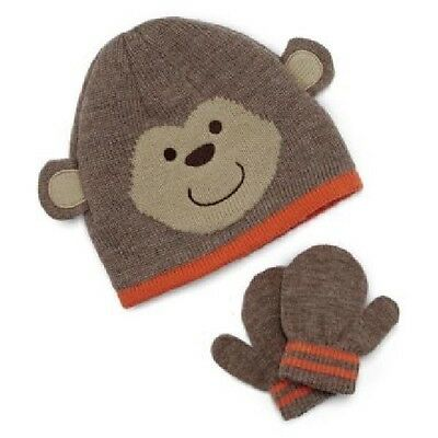 NWT Carters Baby Boy Brown Knit Monkey Hat Mittens Set 6-18 M NEW FREE SHIP