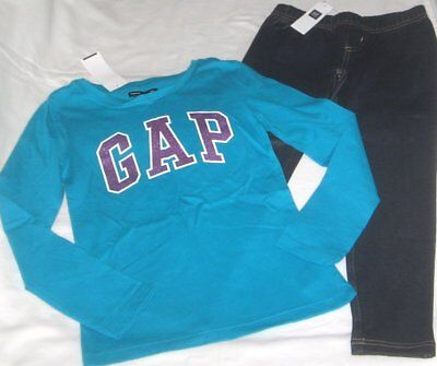 NWT Girls 6/7 GAP 2 Pc Outfit Leggings and Long Sleeve Logo Top NEW