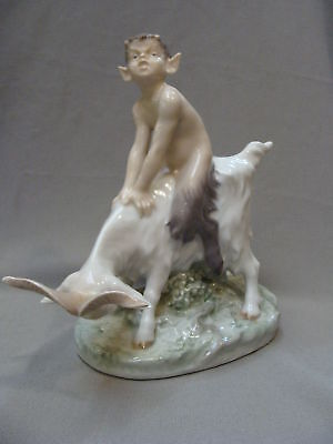 Large Royal Copenhagen Figurine # 737 - Faun On a Goat -