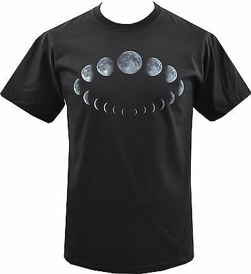 Mens Black T-Shirt Moon Phases Cycle Wicca Wiccan Witch Pagan Goth S-5Xl
