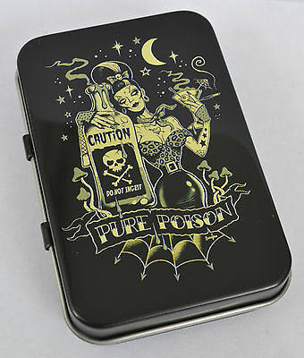 Vintage Zombie Pin-Up Pure Poison Psychobilly Tattoo Moon Goth Hinged Tin Mints