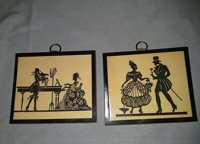 Dollhouse Silhouette Wall Hanging Miniature 2 Pictures On Wood Laminated