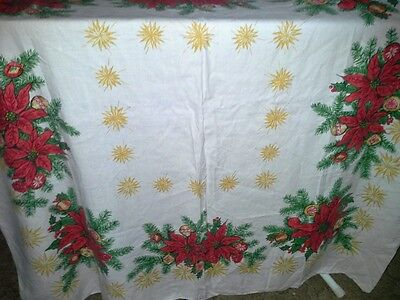 Poinsettia Christmas Tablecloth 50 x 50 Vintage 1950s Painted Holiday Very Good