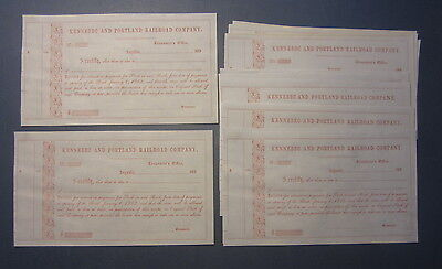 Wholesale Lot of 25 Old 1850's KENNEBEC and PORTLAND RAILROAD Stock Certificates