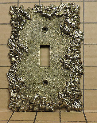 Vintage USED Ornate Metal Switch Face Plate Cover HD2