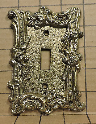 Vintage USED Ornate Metal Switch Face Plate Cover HD3