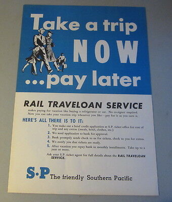 Original Old 1950's Southern Pacific - S.P. RAILROAD POSTER - Rail Traveloan