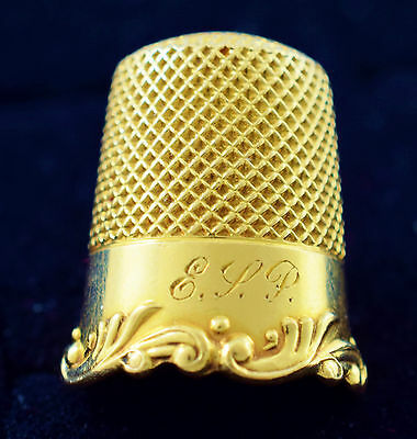 14 Karat Solid Gold Thimble Number 9 Monogrammed Pristine Condition ~ Lot 1739