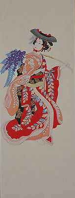 Tenugui Cloth Japanese Fabrc Cotton Tapestry Wall Hanging 'Wisteria Maiden'