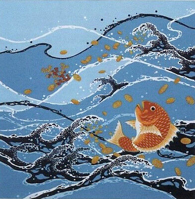 Furoshiki Cloth Japanese Fabric Fish 'Sea Bream in Stormy Seas' Cotton 50cm