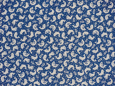 Tenugui Towel Cotton Gauze Japanese Fabric 'Blue Whales'