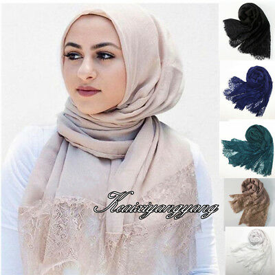 Women Cotton Crochet Flower Lace Muslim Hijab Scarf India Islam Turkish Hijabs