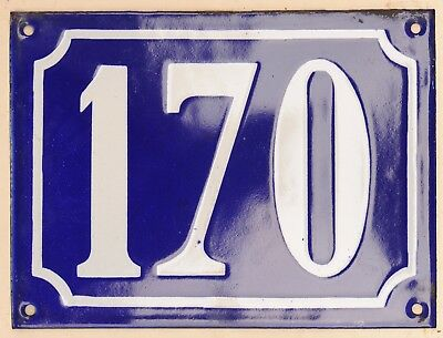 Large old French house number 170 door gate plate plaque enamel steel metal sign