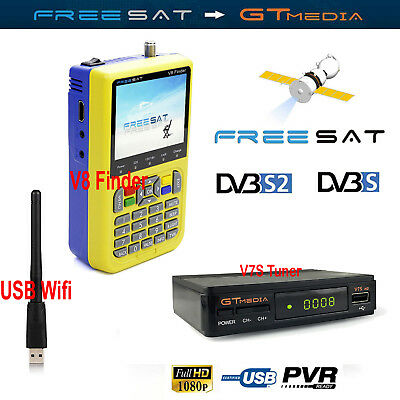 FTA Freesat DVB-S/S2 HD Satellite Finder Satlink TV Receiver Decoder V7 USB Wifi