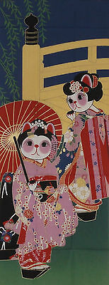 Tenugui Japanese Lucky Cat Cotton 'Maneki Neko Maiko Apprentice Geisha' Fabric