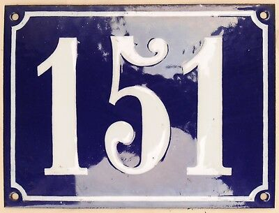 Large old French house number 151 door gate plate plaque enamel steel metal sign