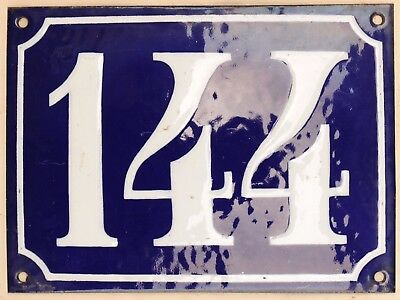 Large old French house number 144 door gate plate plaque enamel steel metal sign