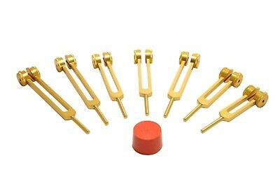 NEW GOLD 7 Pc Set Chakra weighted Tuning forks for Sound Healing Tuner+Activator