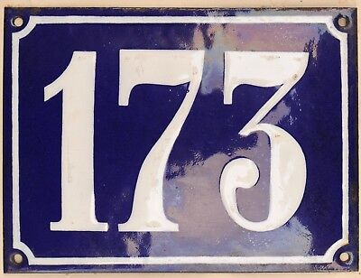 Large old French house number 173 door gate plate plaque enamel steel metal sign