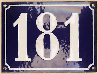 Large old French house number 181 door gate plate plaque enamel steel metal sign