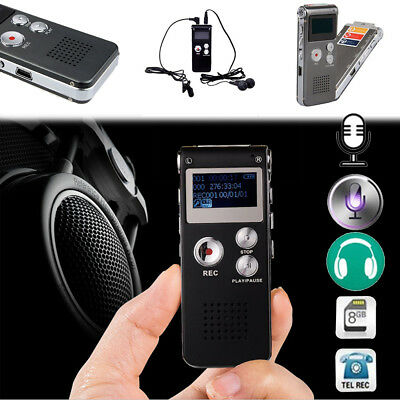 8GB MP3 Player Digital Audio/Sound/Voice Recorder Dictaphone Rechargeable