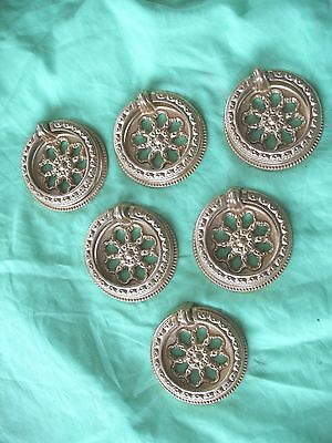 Set of 6 new old stock antique Rococo style brass door drawer pull handles