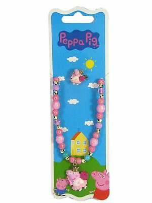 Official Licensed Fairy Peppa Pig Sparkle Beaded Necklace & Ring Set