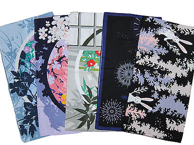 Set of Five Different Furoshiki Wrapping Cloths Cotton Japanese Fabric 50cm
