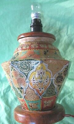 Rare old antique hand painted rawhide Asian Oriental octagonal side table lamp