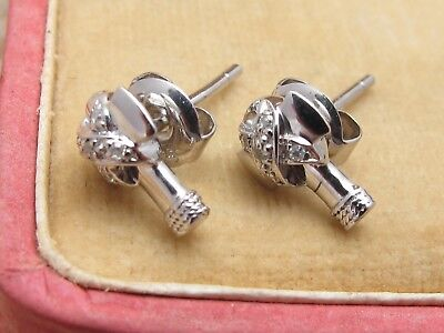 *New Sterling Silver 925 & Diamond Set Axe Stud Earrings