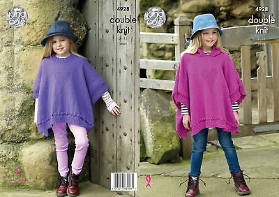 Childrens Double Knitting Pattern King Cole Girls Heart Motif Poncho Cape 4928