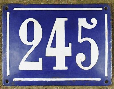 Large old French house number 245 door gate plate plaque enamel steel metal sign