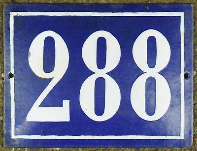 Large old French house number 288 door gate plate plaque enamel steel metal sign