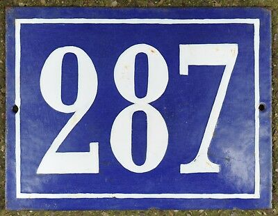 Large old French house number 287 door gate plate plaque enamel steel metal sign