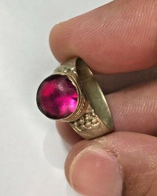 VINTAGE SILVERED RING WITH OLD BRILLIANT STONE RARE 4.3gr 28.0mm (INNER 21.0mm)