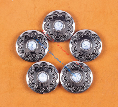 10PC 30MM White Turquoise Flower Western Leathercraft Silver Concho Screwback