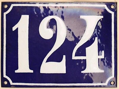 Large old French house number 124 door gate plate plaque enamel steel metal sign