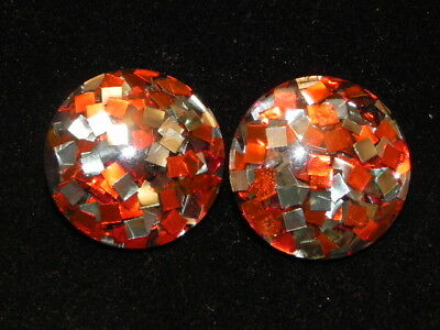 Vintage 60s Red & Silver Confetti Domed Lucite Plastic Clip Earrings
