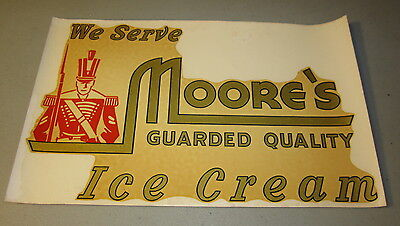 Old Vintage - MOORE'S ICE CREAM - Advertising DECAL - Window SIGN