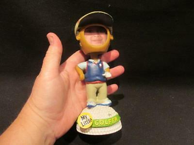 My Little Golfer Bobble Kids Nodding Head Dark Skin Hair Opening for Photograph