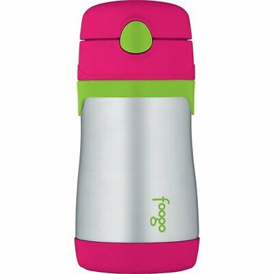 THERMOS FOOGO Vacuum Insulated 10oz Straw Bottle, Watermelon/Green
