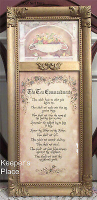 Vintage Home Interiors Ten 10 Commandments Christian Framed Print Gold Frame