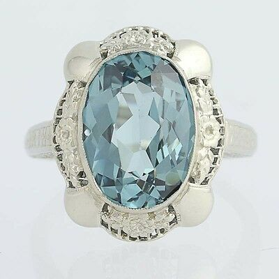 Vintage Synthetisch Stahlblau Spinell Cocktail Ring - 14k Gold Solitaire 7,35ct