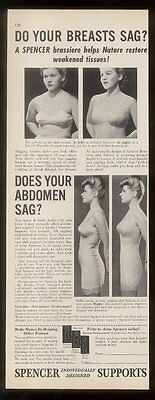 1943 Do Your Breasts Sag? Spencer girdle supports vintage print ad