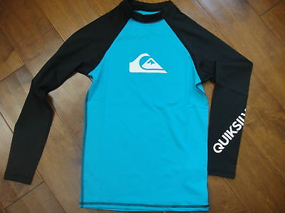 Nwt Quiksilver Boys All Time Longsleeve Rashguard Hawaiian Ocean/black  Sz:xl/16