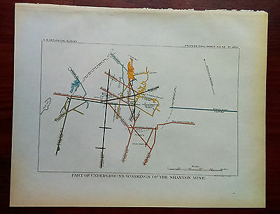 1905 USGS Color Map Diagram of the Underground Workings Shannon Mine Alabama
